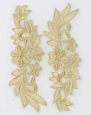 1 Mirror Pair Venise Lady Dress Sewing Gold Flower Floral Lace Trims Applique