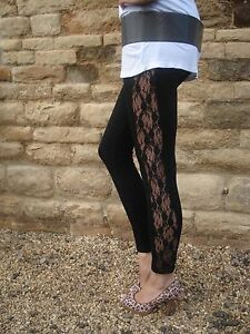 Ankle-Length-Leggings-Lace-Insert-Viscose-Stretch-BLACK-Size-6-8-10-12-14-20