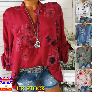 f79273ee42e Plus Size Women Holiday Loose Blouse Tops Ladies Summer Long Sleeve ...