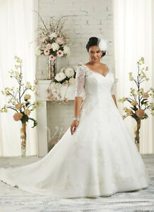 cd0702c008f23 Plus Size White Ivory Bridal Gown Half Sleeve Wedding Dress Stock