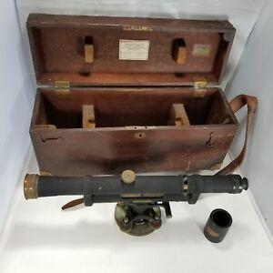 Vintage-K-E-Keuffel-amp-Esser-Dumpy-Survey-Level-56888-Original-Wood-Box-c-1930