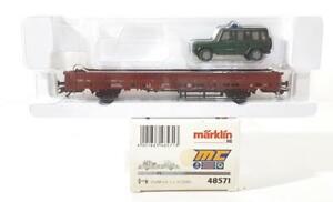 MARKLIN-48571-HO-GAUGE-3-RAIL-GERMAN-DB-LOW-SIDED-WAGON-amp-FEDERAL-POLICE-LOAD
