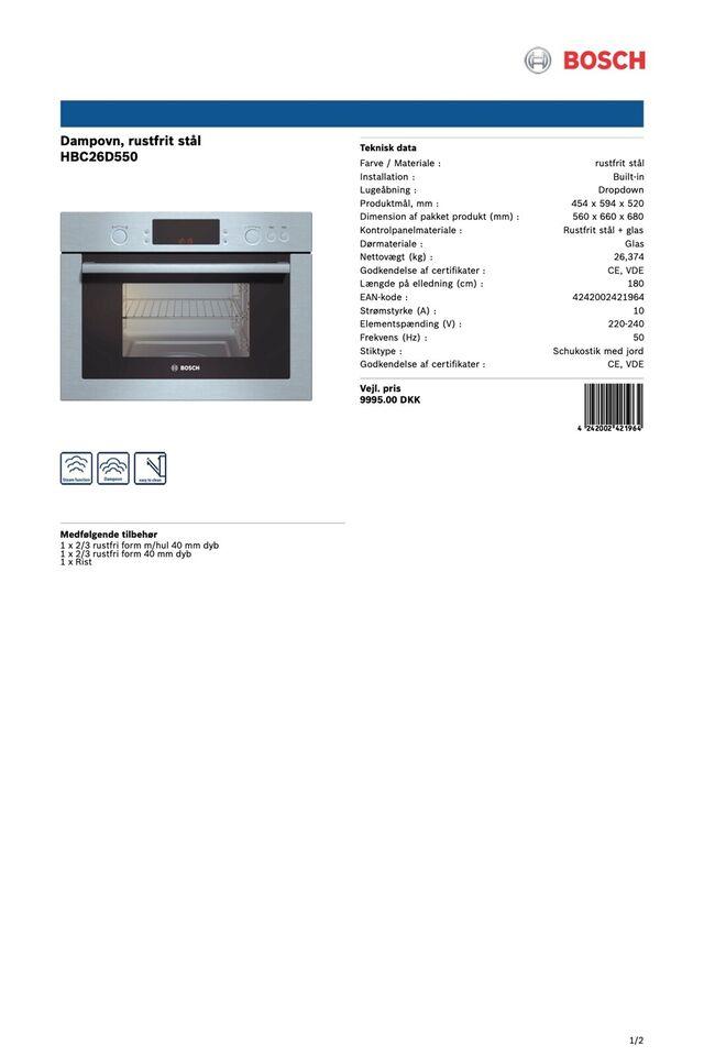 Dampovn til indbygning, Bosch HBC26D550