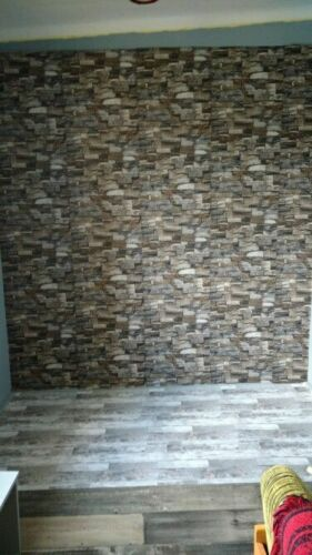 Self-Adhesive Wall Sticker 3D Wall Paper Brick Stone Rustic Effect Home Decor