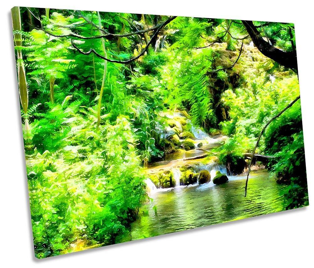 Grün Forest River Landscape Framed SINGLE CANVAS PRINT Wall Art