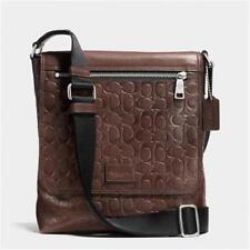 COACH Bleecker 71650 Men's Signature embossed brown leather shoulder bag