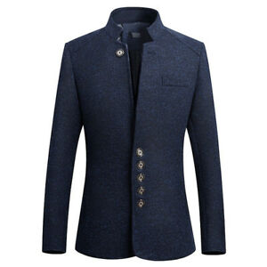 6fa4fab70a23 Men's Business Blazer Coat Chinese Tunic Suit Single Breaste Stand ...