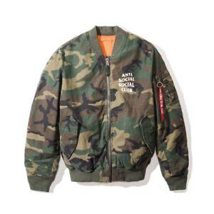 a29304c09123 Anti Social Social Club MA1 Camo Bomber Jacket ASSC Size L W Receipt ...