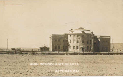1911 RPPC High School and Mt. Shasta, Alturas, California Photo Postcard