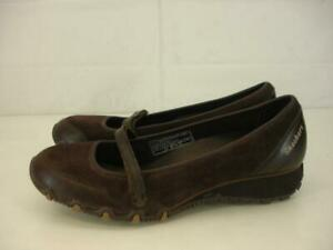 Womens-9-5-M-Skechers-Sassies-Brown-Suede-Leather-Mary-Jane-Comfort-Shoes-Loafer