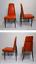 set of 4 - vintage mid century modern atomic steel orange vinyl dinette chairs