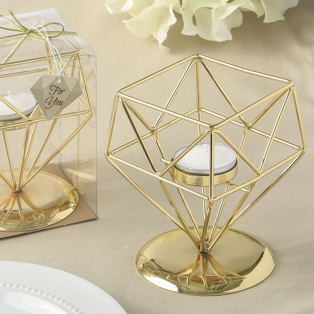 30 Geometric Gold Candle Holders Wedding Bridal Shower Table Décor Party Favors