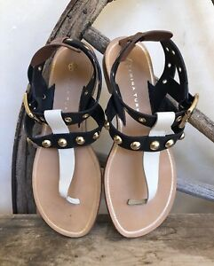 f81081a28 Image is loading TRINA-TURK-Black-Cream-Brown-Leather-Sandals-Grommets-