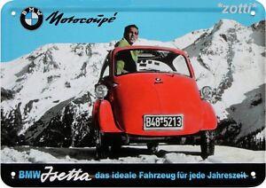 Carte-Postale-en-Tole-Metal-10-CM-X-14-5-BMW-Isetta-Motorcoupe-Coupe-Publicite