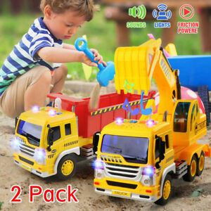 2PCS-Construction-Engineering-Car1-16-Machine-Digger-Vehicle-Dump-Trucks-Toys-AU