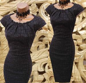 Karen Millen 16 Uk Black Wool Animal Print Tailored Work Office Pencil Dress Ebay
