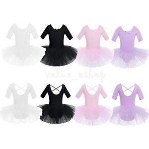 Kids-Girls-Ballet-Leotard-Tutu-Dress-Ballerina-Dancewear-Gymnastic-Skirt-Costume