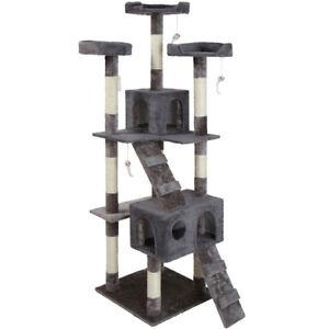 Poteau pour chat en sisal pour chat, tirant, 170cm, gris