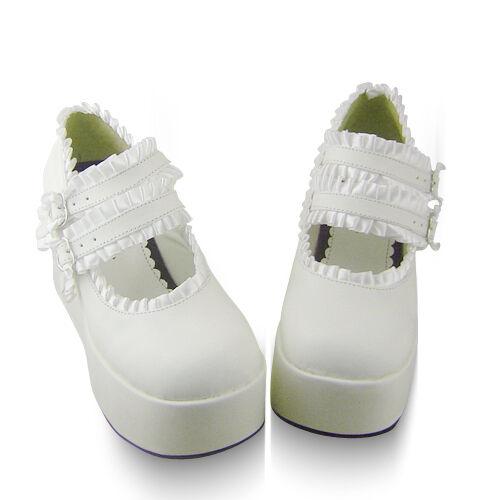 weiß lolita Shoes damen-Schuhe keilabsatz keilabsatz keilabsatz wedges renaissance halbschuhe platform 012b0d