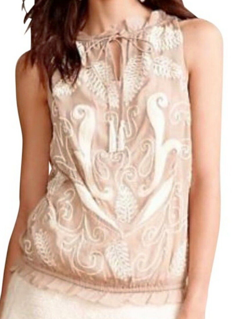 adb8d2d1b378 Anthropologie Embroidered Bubble Hem Tank Medium 6 8 Taupe Top Sequins NWT