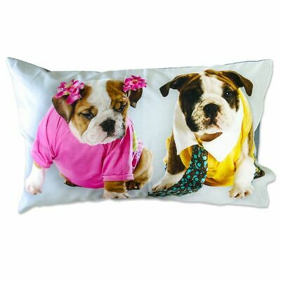 Coppia Federe Per Guanciale Bull Dog I Love Sleeping Stampa Digitale 3d Coton... Evidente Effetto