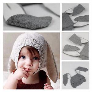 5e601a7b8fc Kids Fashion Fall Winter Knit Beanie Hat Baby Long Ear Rabbit ...