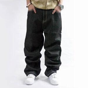 Caricamento dell immagine in corso Jeans-Da-Uomo-Larghi-Denim-Hip-Hop- Abbigliamento- 91fe1d45ad0d