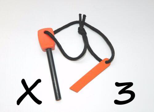 3 NEW Large Outdoor Survival Flint Steel Magnesium Rod Fire Striker Starter Kits