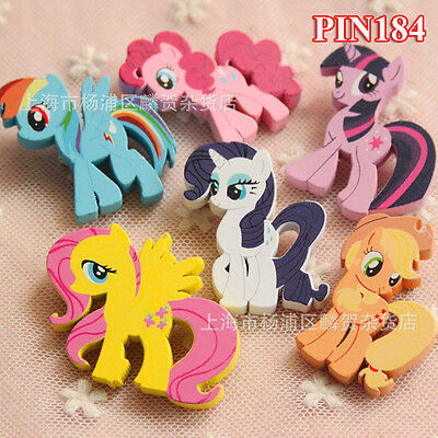 4 or 6pcs Disney My Little Pony Funny Wooden Badges Pins Kids Gift Party Supply
