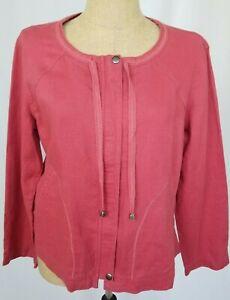 J Jill Womens Red Linen Long Sleeve Zip Front Jacket Medium Pockets NWT