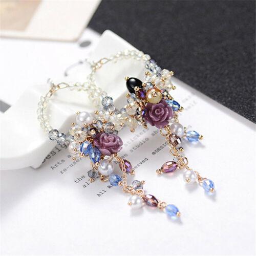 Hot 2019 Korean Style Metal Flower Crystal Pearl Stud Women Dangle Hoop Earrings