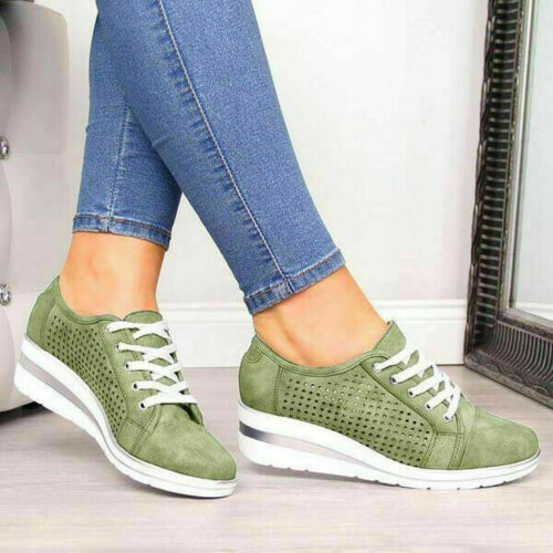 Womens Wedge Heel Hollow Out Lace-Up Sneaker Breathable Comfy Trainer Shoes Size