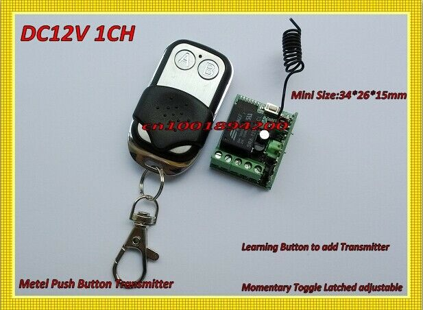 mini switches 12v dc 1ch 10A Relay Receiver Metal Push Button Transmitter 315433