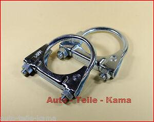 2-x-Auspuffschelle-fuer-Volkswagen-Abgasanlage-Montageschelle-M8-54-mm