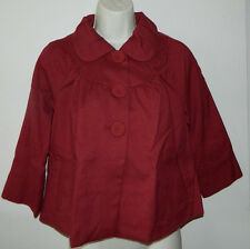 Women Mossimo Solid Maroon 3/4 Sleeve Casual Work Poncho Jacket Size S