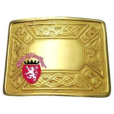 Men's Highland Kilt Fibbia Della Cintura Swirl Celtico Nodo Placcato Oro Fibbie Scozzese-mostra Il Titolo Originale Il Massimo Della Convenienza