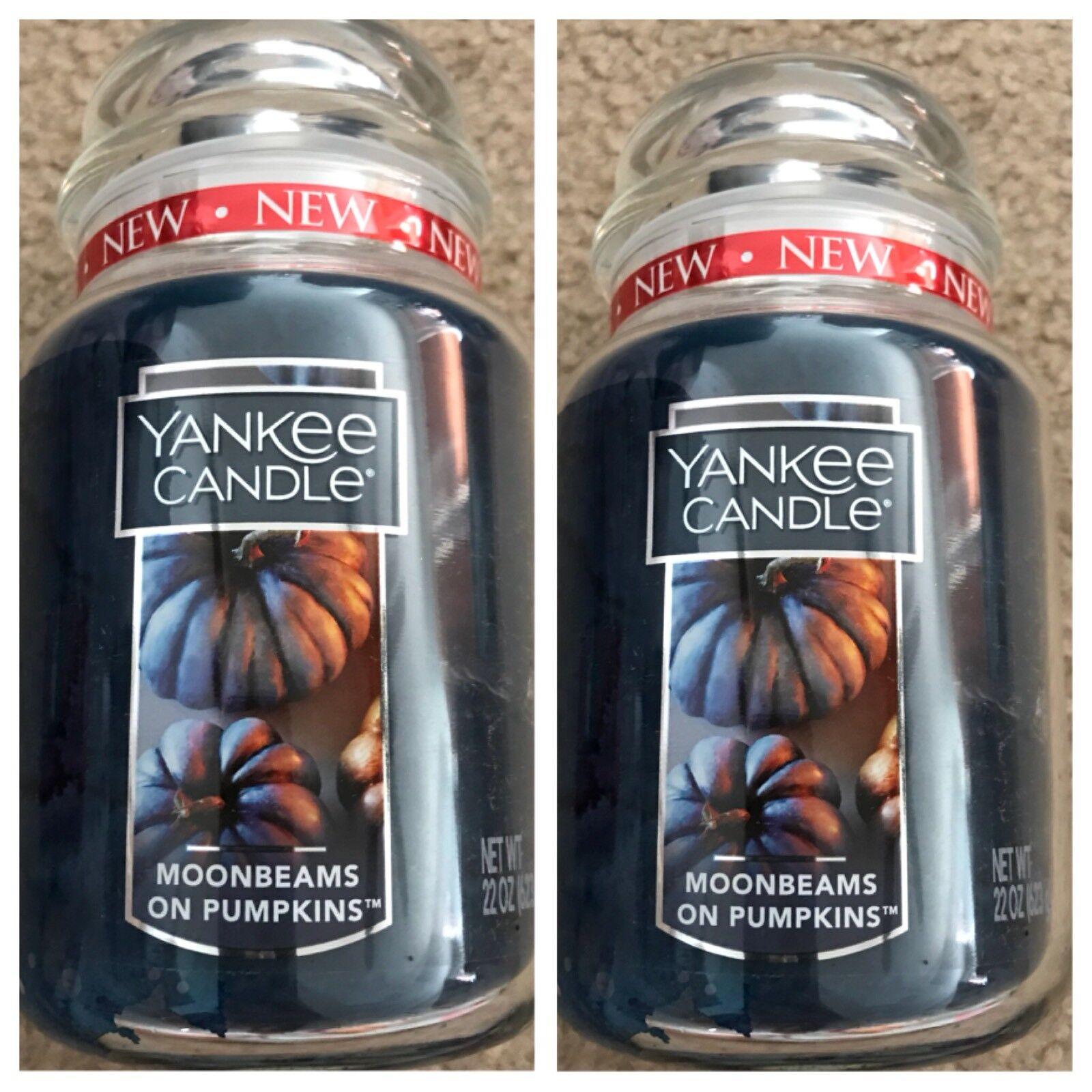MOONBEAMS N PUMPKINS   SET OF 2- NEW YANKEE CANDLE LARGE JARS 22OZ