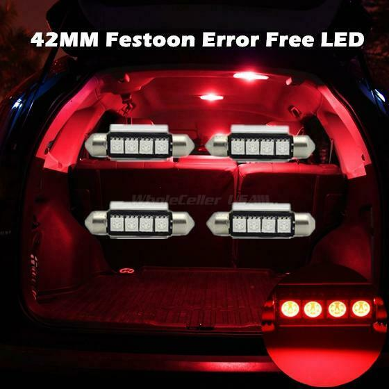 4x RED 4SMD Error Free LED Map//Dome Interior Light Bulbs 42MM Festoon Lamps 578