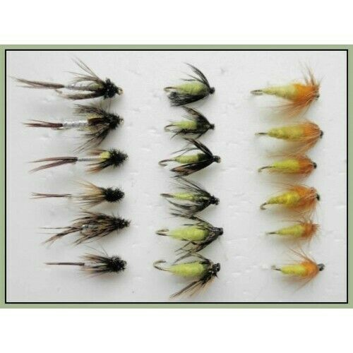 18 Pack Caddis Amber /& Hatching Sedge Nymph Trout flies Mixed 10 to 14