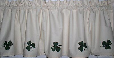 Shamrocks on Muslin Valances Tiers Primitive Country Curtains Runners  Kitchen   eBay
