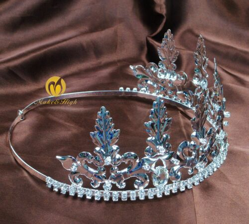 Noble Men King Tiara Imperial Medieval Crowns Headband Crystal Pageant Costumes
