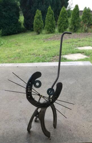 Deko Katze aus Hufeisen Metall Garten Eisen
