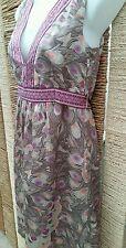 H&M Ladies Sleeveless Pink & Beige Silky Dress Size 10