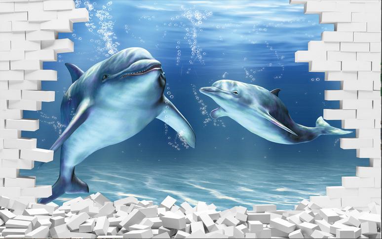 Papel Pintado Mural Mural Pintado Vellón Delfines De Ladrillo Blanco 12 Paisaje Fondo Pantalla 2dfb47