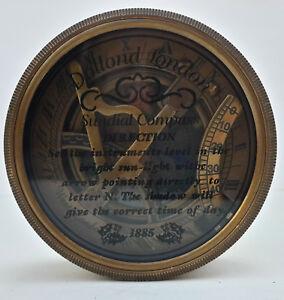 "Diligent Unidecor Vintage Nautical 3"" Dolland London Brass Glass Lid Sundial Antiques"