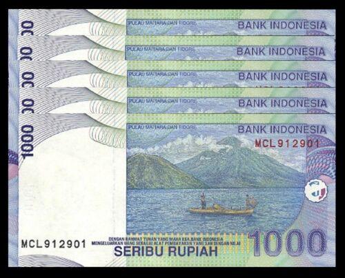 INDONESIA 1000 RUPIAH 2000 2008 UNC 5 PCS CONSECUTIVE LOT P-141