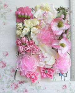 PINK-amp-IVORY-9-Styles-30-Paper-Flowers-Roses-amp-Silk-Flowers-5-50mm-VD2