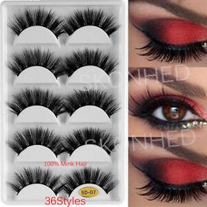 dfb85ae12af SKONHED 5 Pairs 3D 100% Mink Hair False Eyelashes Wispy Fluffy Thick ...