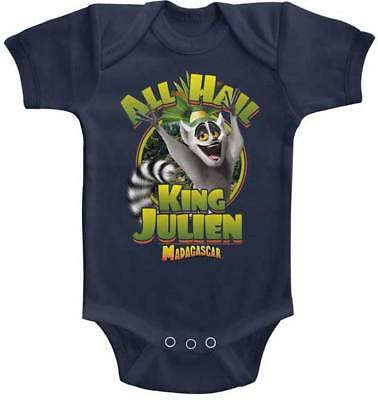 Madagascar Kids Movie All Hail King Julien Baby Romper Onezies 6-24 Month