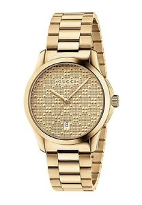 New-Gucci-G-Timeless-Gold-Tone-Stainless-Steel-Bracelet-Unisex-Watch-YA126461